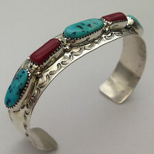 Sterling Silver Natural Sleeping Beauty Turquoise with Coral Stone Cuff Bracelet