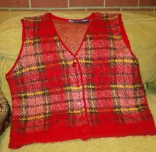 Sweater Vest sz.M Red Plaid Mohair Liz Sport button front Scottish Valentine's