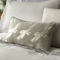 Laurence Llewelyn Bowen Chic Velvet Qing Oyster Filled Boudoir Cushion 28x48cm