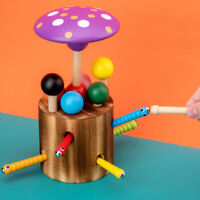 Mushroom Roof Catch Worm Game Magnetic Wooden Toys Educational toys gift