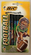 Vintage Bic Wavelengths Football Pens! Pack of 6 Black ink pens! Unique Items !
