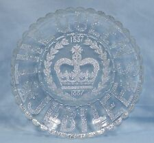 QUEEN VICTORIA SILVER JUBILEE 1837 - 1887 PRESSED GLASS BOWL EXCELLENT