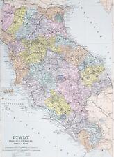 1887 ANTIQUE MAP ITALY EMILIA TUSCANY MARCHES UMBRIA ROME ELBA LEGHORN