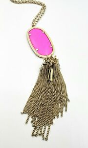 Kendra Scott Rayne $80 Long Tassel Pendant Necklace Gold & Bright Pink