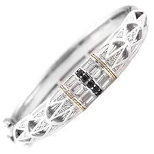 Andrea Candela 18k Gold & Silver Black Spinel Topaz Deco Bangle ACB292/14-SWT