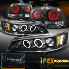 For 96-97 Honda Accord Halos Projector LED Headlights + JDM Black Tail Lights