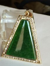 Estate Large Green Jade And 1.0 Carat  Diamond In 18k Gold Pendant