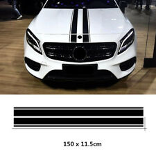 2x Black Car Hood Stripe Decal Strip Bar Graph Bonnet Sticker Universal Custom