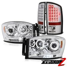 07-2008 Dodge RAM Euro Left+Right Halo Projector Headlight+Chrome LED Tail Light