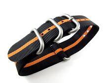 22mm Watch Strap Nylon Black Orange Sport Solid Round Ring 1 Piece Fashion Trend
