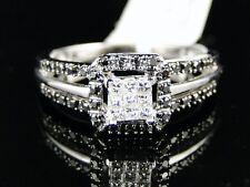 Oro Blanco Mujer Novia Compromiso Corte Princesa Negro Anillo con Diamante