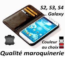 Coque étui housse CUIR VERITABLE Samsung Galaxy S2 S3 S4 ouverture portefeuille