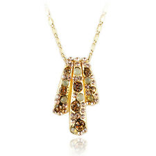 14k Gold GF crystals necklace pendant with Swarovski elements