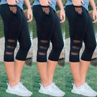Womens Cropped Capri YOGA Workout Run Gym Sport Pants Leggings Fitness Mesh X425