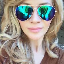 "Classic ""LITA"" Blue Green Purple Mirror Yellow Gold Aviator Sunglasses Glasses"