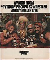 "1987 Joe Piscopo ""Python"" ex-wrestler Miller Lite Beer retro photo print ad L14"