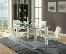 Gordie for Acme White and Clear Glass Rectangular Dining Room Set