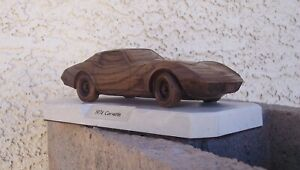 1974 Chevy Corvette Wood Solid Model W/ Marble Base Gar-Wood Sting Ray