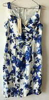 KALIKO Blue Linen Floral Spring Dress 8 Party Occasion Formal NWT