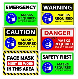 """1X Safety Sign -""""PLEASE WEAR A FACE MASK"""",Self Adhesive Sticker & SIGN"""