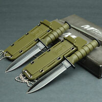 Lot Of 2 MTECH Kabai 440 Stainless Fixed Blade Neck Knives Knife OD Green 632