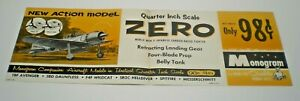 1962 MONOGRAM MODEL KIT JAPANESE WW2 ZERO PA-73 STORE SIGN DISPLAY POSTER L@@K!