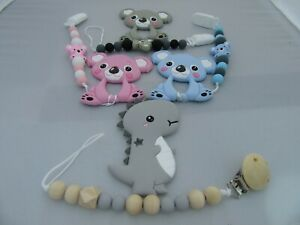 BABY SENSORY FOOD GRADE SILICONE TEETHER WITH CUTE ANIMAL PACIFIER DUMMY CLIP