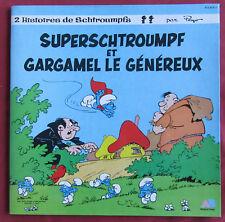 SUPERSCHTROUMPF ET GARGAMEL   ART COVER BD LP ORIG FR  PEYO  LIVRE DISQUE