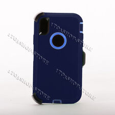 Defender iPhone Xs Max Case Cover w/Holster Belt Clip Fit Otterbox Navy Blue New