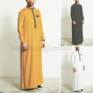 Mens Muslim Clothing Jubba Kaftan Dishdash Thobe Arab Robe Islamic Saudi Dress