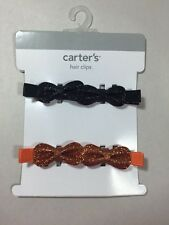 Carters Hair Clips, Great for Kids/Toddlers. Orange/Black. 4 Total Clips!