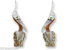 Zarah Zarlite PELICAN EARRINGS Sterling Silver Plated Enamel Shore Bird Gift Box