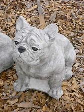 Steinfigur Französische Bulldogge Hund Hunde Steinguss Gartendekoration Mops