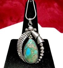 VINTAGE 925 STERLING SILVER TURQUOISE PENDANT NECKLACE 18""