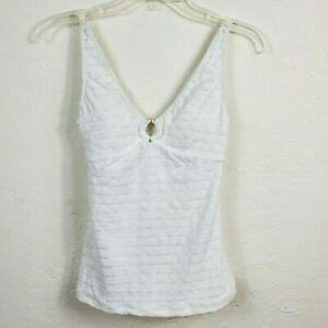 Anne Cole Collection Womens Tankini Swim Top XS White Dotted O Ring