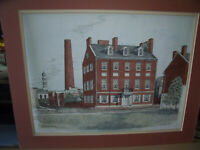 Martin Barry hand colored print The Carroll Mansion Signed and numbered 2/350