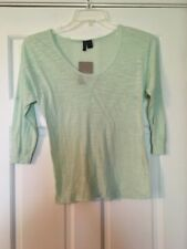 NEW ANTHROPOLOGIE LEFT OF CENTER Top Size XS Mint Green ¾ Sleeves Heathered