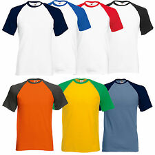 SS026 FRUIT OF THE LOOM BASEBALL T SHIRT CONTRAST TEE S - XXL