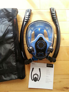 Full Face Snorkel Diving Mask with 2 Breather Pipes 180° View, Anti Fog As New!