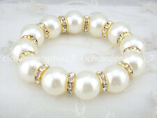 White shell Pearl Gold Crystal Rhinestone Bead Stretch Jewelry Bracelet C3113