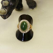 Vintage Ladies Costume Dress Ring Faux Jade w Rhinestones S9 US Filigree GT 0521