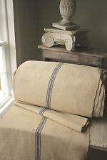 Antique TABLE RUNNER hemp organic Blue stripe linen cotton mix PER ONE YARD