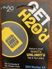 2xNew Prepaid H2O Wireless Sim Card Factory Micro/Stanrd Sim Card . Dual Cut Sim
