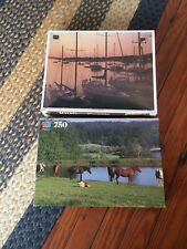 2 VINTAGE SEALED Puzzles Cape Cod, MA Boats - Horses In A Field 750 1000 Piece