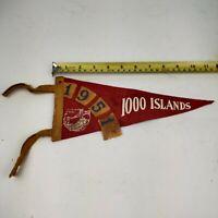 "Vintage 1951 1000 Islands International Bridge Felt Pennant banner flag 12"""