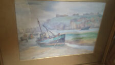 Mary Reade Watercolour Fishing Boats Antique Edwardian Colourful Early 20thC