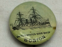 Vintage 1896 Pinback Button United States War Ship Boston Whitehead & Hoag Co.