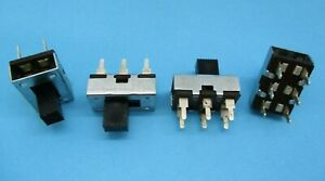 1/5/10pcs - 3A DPDT Slide Switch, 125VAC, Metal Body, PC Board Mount, 6 Contact