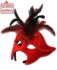 Devilish RED Velvet Masquerade Mask with Feathers * Lift Up Design