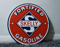 VINTAGE SKELLY GASOLINE PORCELAIN SIGN GAS OIL METAL STATION PUMP PLATE AD RARE